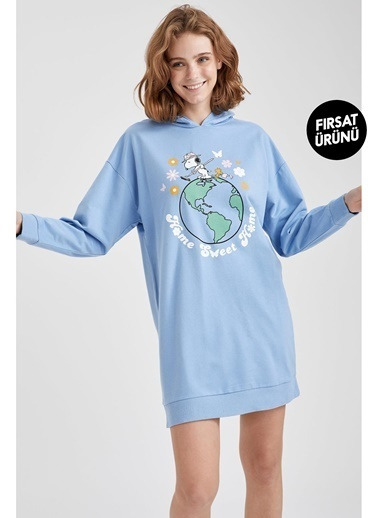 Defacto –Fit Snoopy Lisanslı Kapüşonlu Sweatshirt Mavi